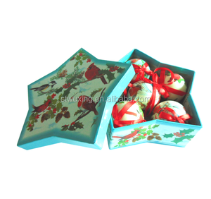 Fancy star shape Christmas decoration gift box / ornament box with various designs