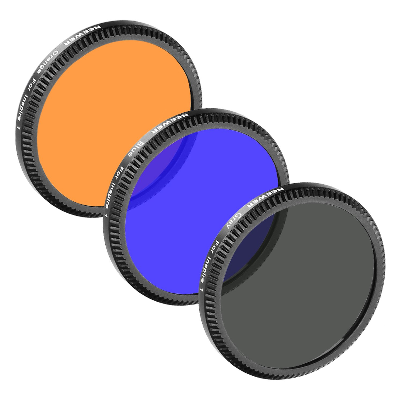 Neewer for DJI Inspire 1 Full Color Lens Filter Set 3 Pieces: Full Grey Filter, Full Orange Filter and Full Blue Filter