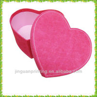 good quality high end design velvet heart shape cardboard packing box