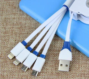 Hot Selling 8Pin Micro Data Charger Multi-Function Retractable 4 in 1 USB Cable For iPhone