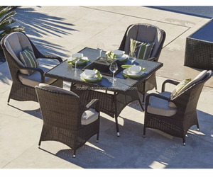 2018 Modern Garden Rattan Outdoor Marble Fire Pit Table Set BBQ Table