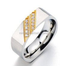 Masculine Square Stainless Steel Mens Wedding Band Engagement Ring Set with Cubic Zirconia