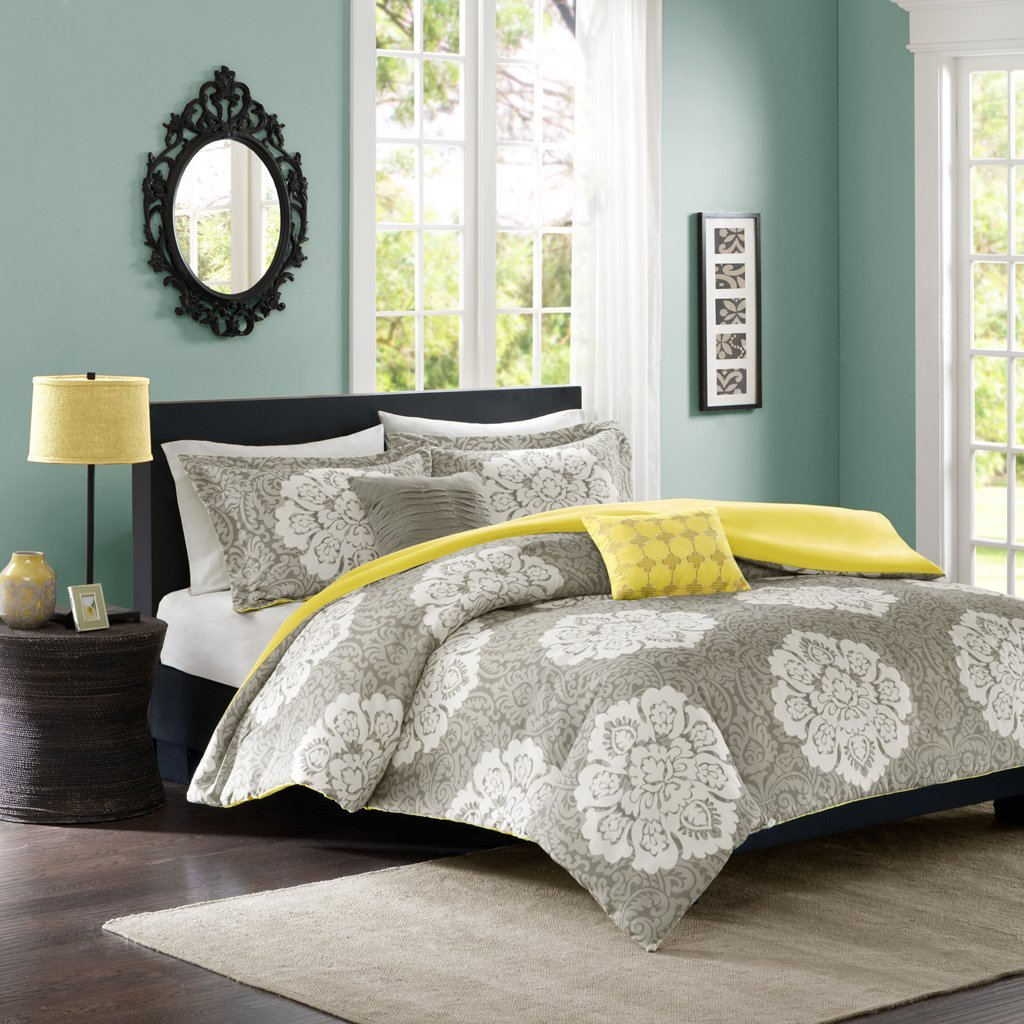 Get Quotations Intelligent Design Tanya Duvet Cover Full Queen Size Grey Yellow Damask