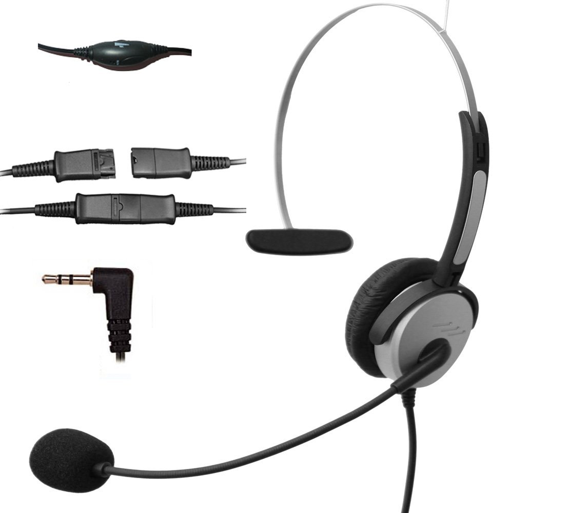 Voistek Corded Call Center Telephone Headset Noise Cancelling Headphone with Flexible Microphone for Cisco Linksys Polycom Panasonic Office Deskphone DECT Cordless and Cell Phones with 2.5mm Headset Jack (Mono QD H10P25)