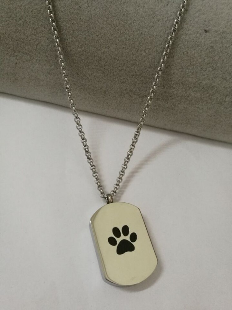 XL113 Big Paw Print on Memorial Urn Pendant for Pet Stainless Steel Ashes Keepsake Cremation Necklace