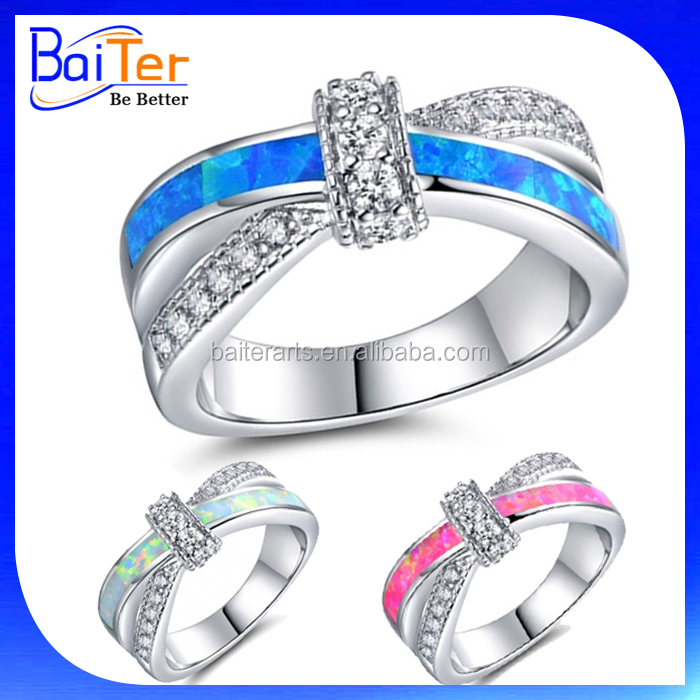 Wholesale White Gold Plated 925 Sterling Silver Cubic Zircon Criss Cross Ring/Opal & CZ Crisscross Ring