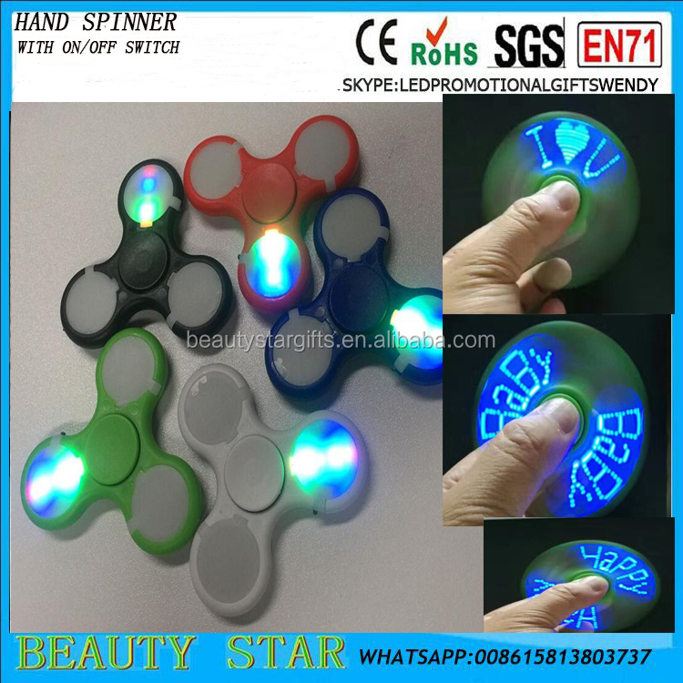 2017 new idea LED flashing text fidget spinner,China factory wholesale led hand spinner with text 608 bearing