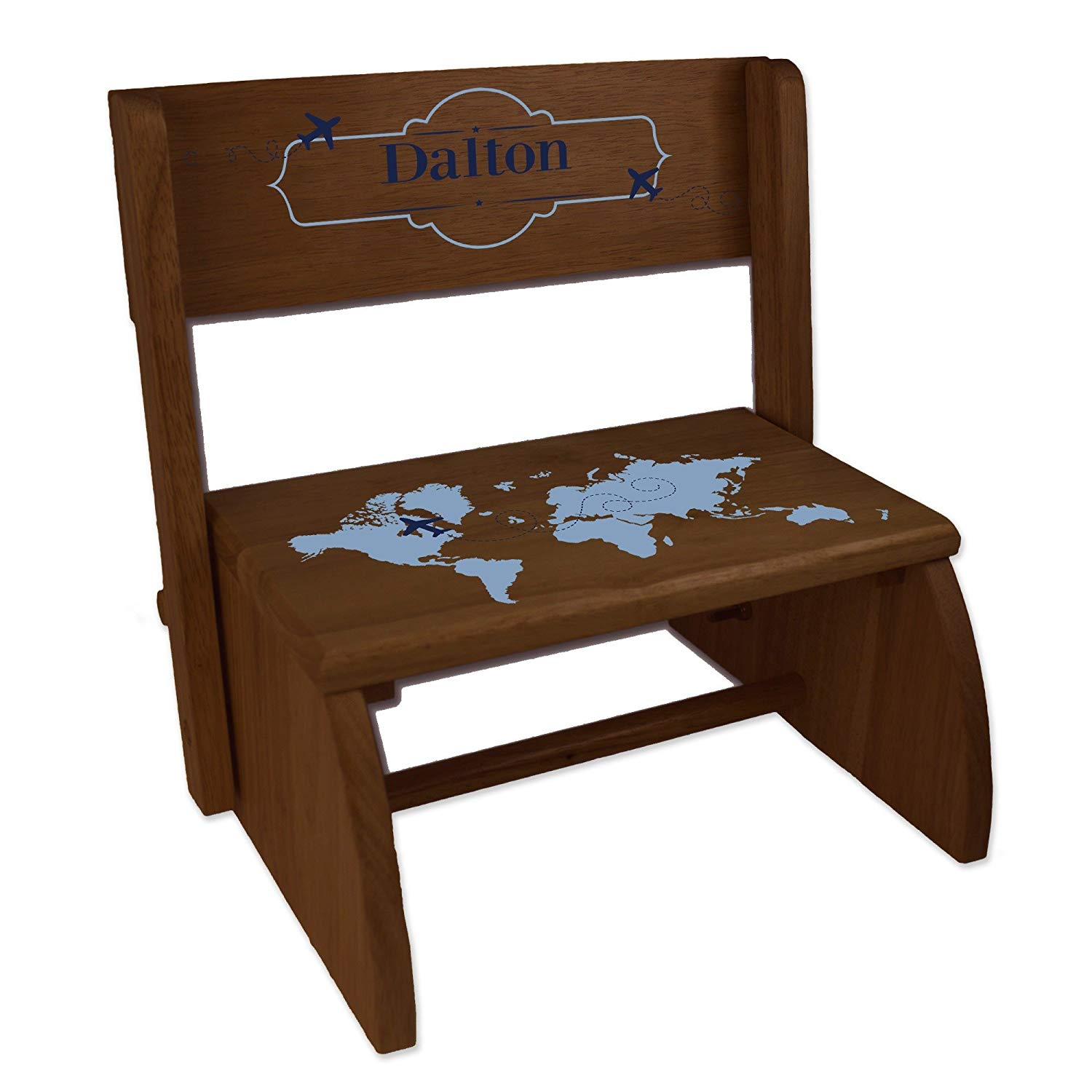Personalized World Map Blue Espresso Wooden Folding Stool and Seat