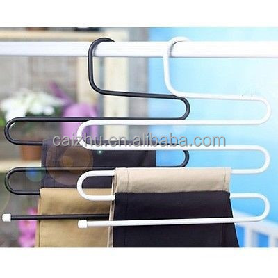 High quality 5 Tiers s-shaped Multi Trousers Towels Hangers Wardrobe Metal Racks