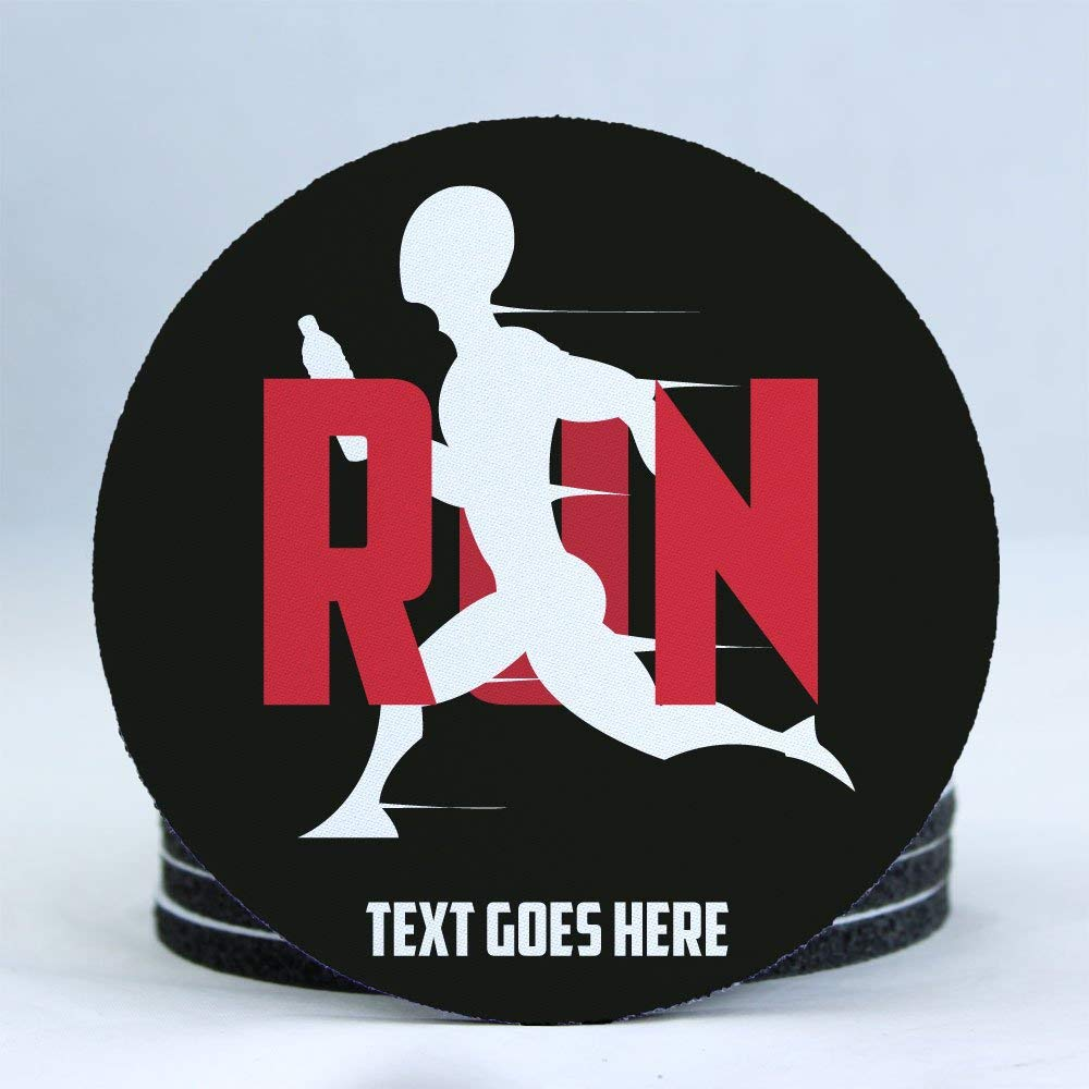 "ezpencils - Personalized Running Theme 4"" Rubber Backed Round Coasters - Perfect Gift for a Track and Field, Runner, Jogger Lover- set of Four (4pcs) - Free Personalization"