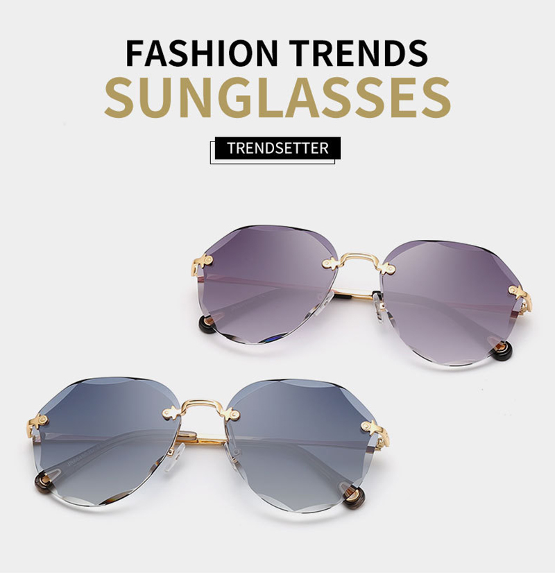 Trendy Metal Trimming Carved Legs PC Rimless Irregular Women Sunwear
