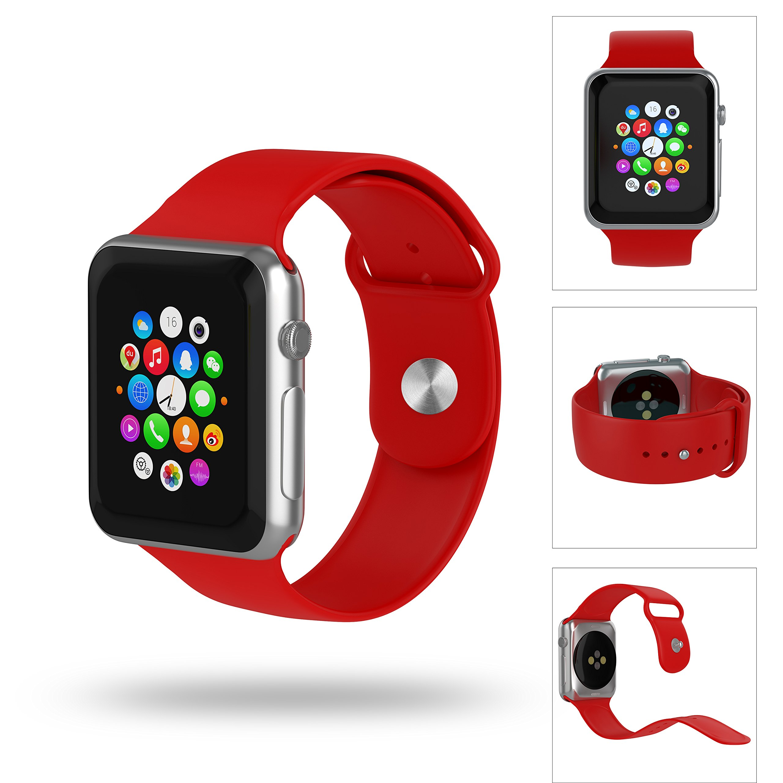 Apple Watch Band 42mm, Cindick Soft Silicone Replacement Wristbands Buckle Bracelet for Apple Watch Sports 2015 and 2016 (Passionate Red)