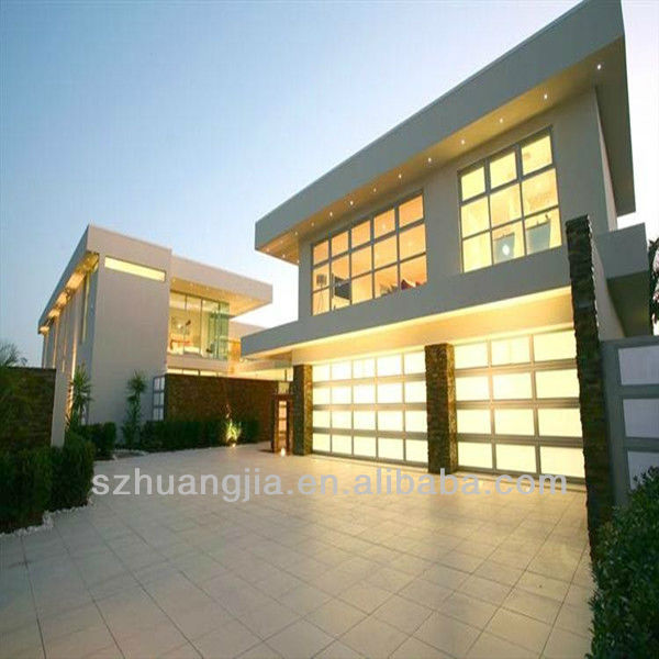 Motorized Aluminum Insulated Frosted Tempered Glass/Polycarbonate/Organic Glass Full View Overhead Garage Door