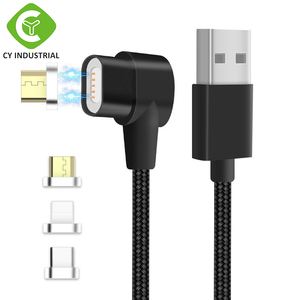 L-type Multi Universal 3-in-1 Magnetic USB C Cable Type Micro-USB Quick Charger magnet usb c cable for IOS / Android / Tyep C