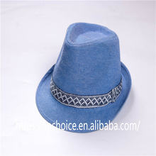 Men's Blue Panama Style Fedora Straw Sun Hat with Embroidered band tape