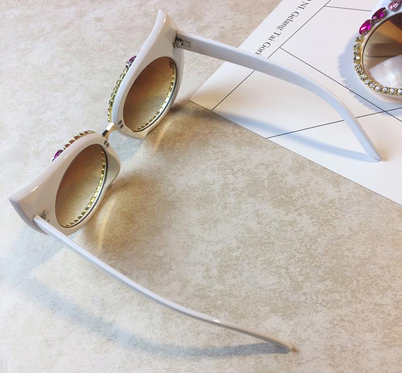 d6382bca6 2018 مصمم الأزياء كريستال زهرة عين القط المرأة شاطئ uv400 النظارات الشمسية  الإناث خمر