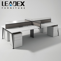 New Products 4 Seat Aluminum Partition Office Workstation Cubicle