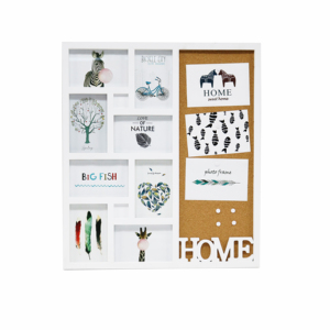BH1708 multifunction design family collage 8pcs wall hanging plastic photo frame with whiteboard or cork art