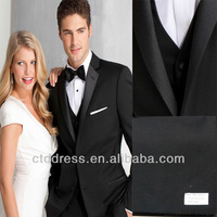 High quality mens online selling wedding suit with black satin lapel