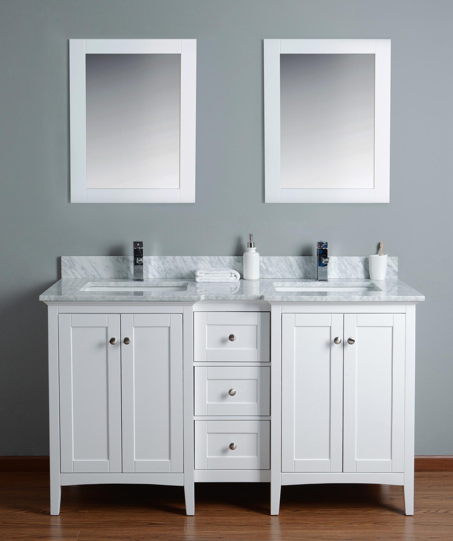 High Gloss White Mirrored Makeup Vanity, High Gloss White Mirrored ...