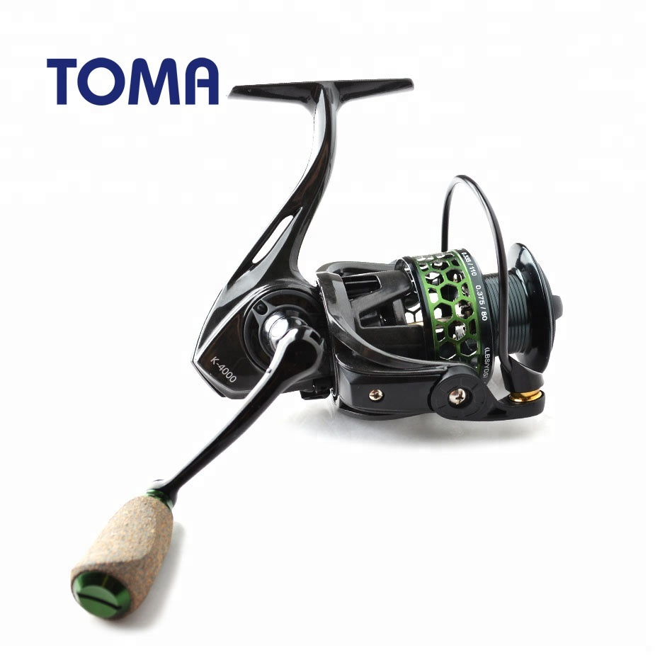 TOMA High Quality Carbon Fishing Reel Spinning 9+1BB 5.2:1 Lure Carp Fishing Wheels Carbon Fiber Ultralight Spinning Reel, Red green