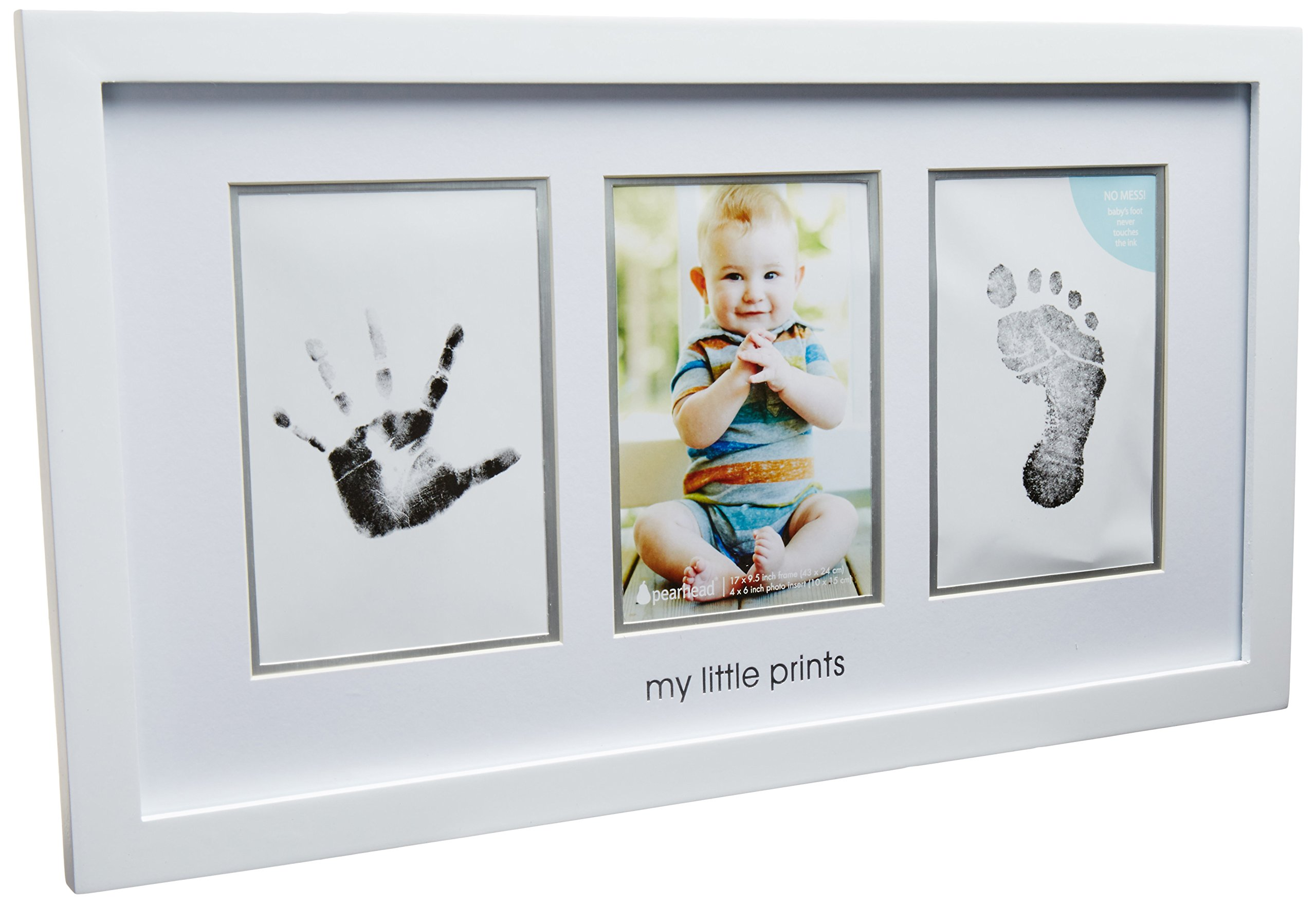 Pearhead Babyprints Newborn Baby Handprint and Footprint Photo Frame Kit with an Included Clean-Touch Ink Pad to Create Baby's Prints - A Perfect Baby Shower Gift