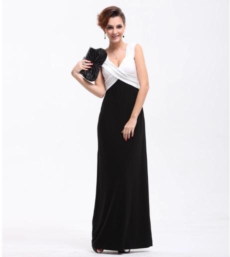 0756ef249 Última moda sexy v-cuello mujer vestido blanco y negro noche Vestidos  largos. Descripción del producto