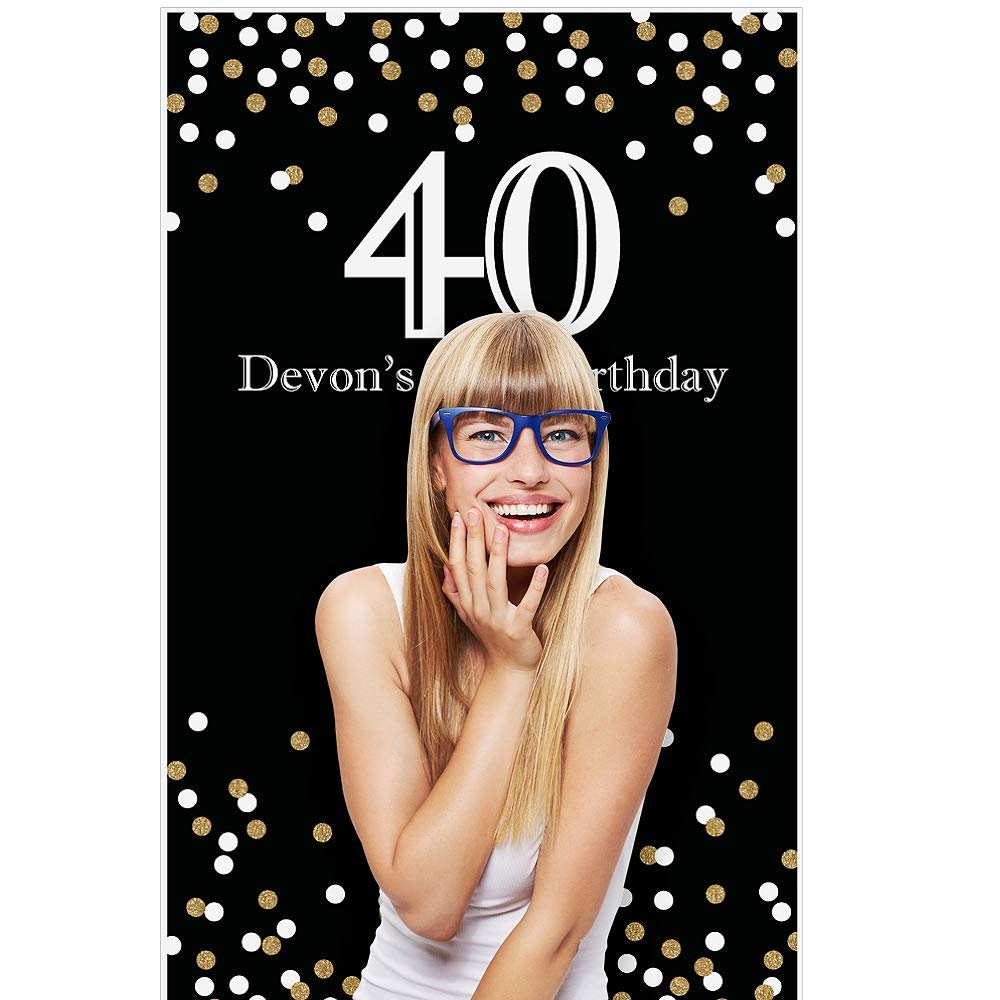 "Big Dot of Happiness Custom Adult 40th Birthday - Gold - Personalized Birthday Party Photo Booth Backdrops - 36"" x 60"""