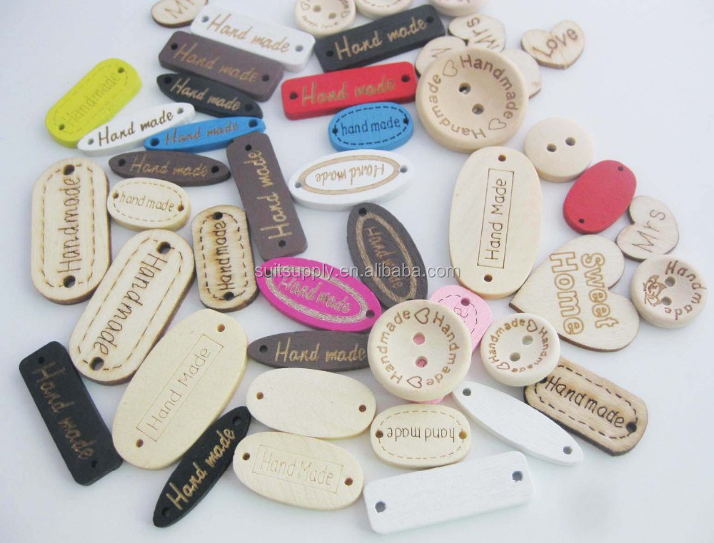 Customized Handmade clothing Label on Wood buttons DIY Decorative Accessories