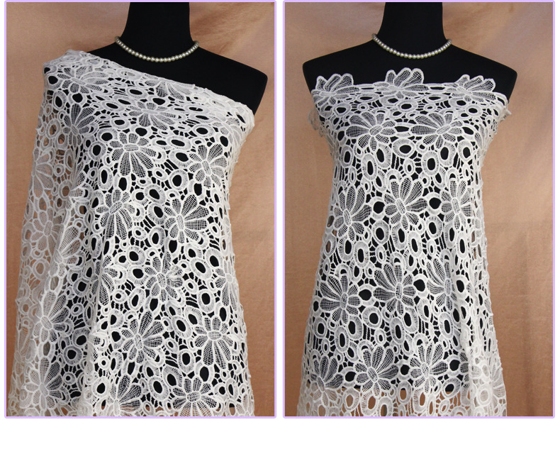 new fashion design 125cm Width allover Water Soluble chemical polyester lace milk silk lace for dress fabric