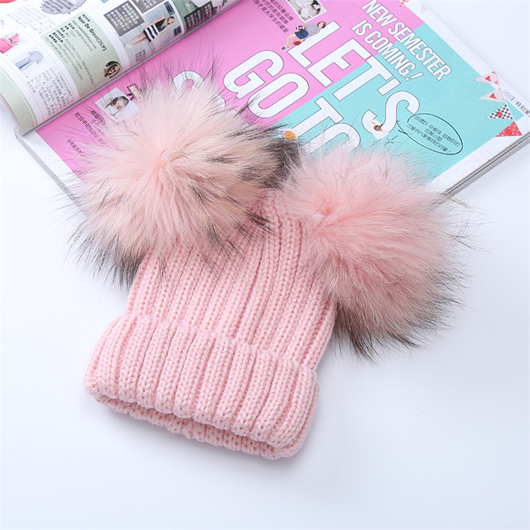 Baby Winter Fur Pompom Hat Real Double Raccoon Fur Pom Poms Beanie Hats for Kids boys and girls