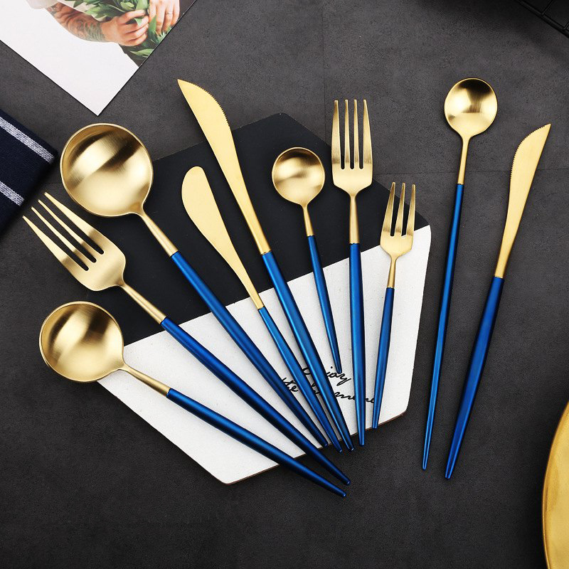 China Suppliers Wholesale Gold Plated Dinnerware Set Stainless Steel Cutlery Set Bulk Gold Flatware Set For Wedding