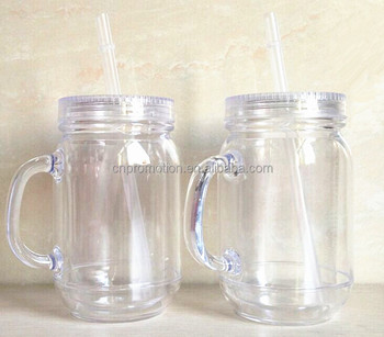 Custom Printed Transparent Plastic Double Wall Mason Jars With Handles and Lids