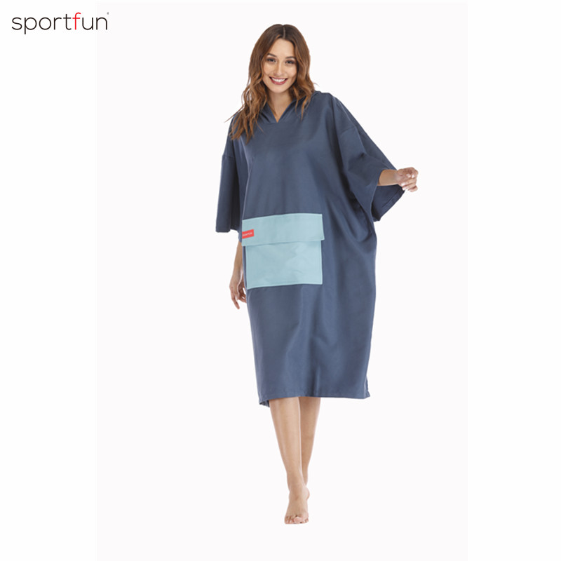 Changing Towel Poncho Robe Hooded Light Weight Quick-dying Surf Wetsuit-Red