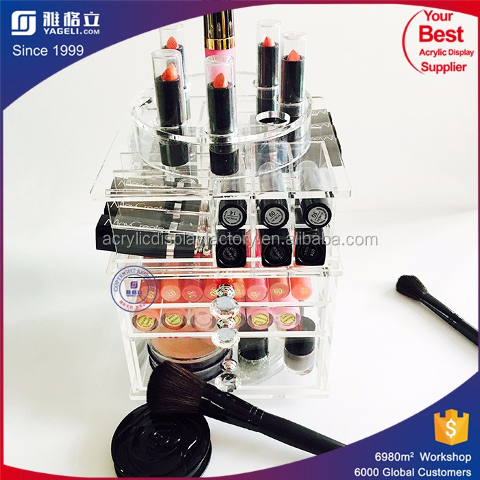 spinning tower mac lipsticker holder acrylic rotatable makeup display organizer