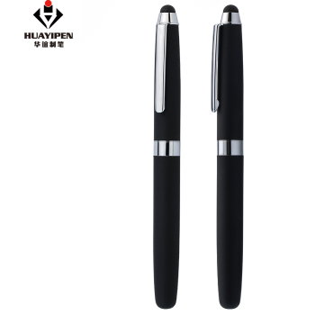 High Quality Heavy Metal Stylus Touch Screen Pen Cute Roller Gel Ink Pen Hotel Square Pen with Rubber Finished