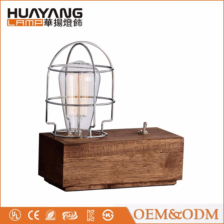 American style retro industrial study vintage modern wood table lamp
