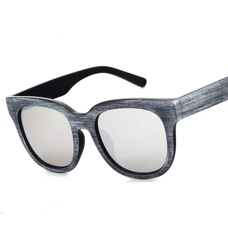 130f3c0ba54f8 Fashion Wood Grain Frame Men Square Sunglasses Brand Designer Retro  Oversize Women Flat Mirror Coating Lens