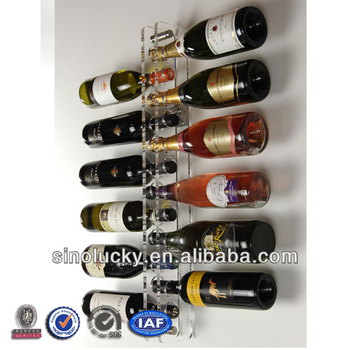 Acrylic And Stainless Steel 12 Bottle Wall Mounted Wine Rack