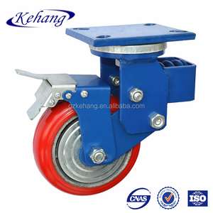 "5"" double brake shock absorption caster wheel with spring"