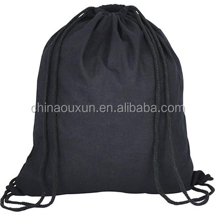 Popular black cotton drawstring bag