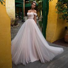 Розовое Тюлевое свадебное платье с рукавами 2020, с открытыми плечами, милое, на шнуровке, длина до пола, Свадебные платья Vestido de noiva(China)