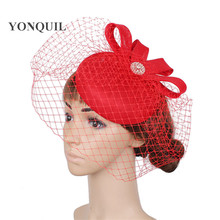 2e53c5af60faf High quality royal blue fascinator with birdcage veils imitation sinamay fascinators  hats wedding hair accessories red