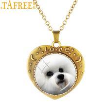 TAFREE Ретро Сердце Форма ожерелья с подвесками в виде животных антикварный с бронзовым покрытием собака стеклянный купол на цепочке ожерелье...(Китай)