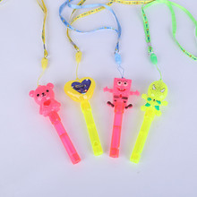Colorful cartoon flash whistles stick/ Party decorations Led Flash stick /plastic flashing stick with whistle