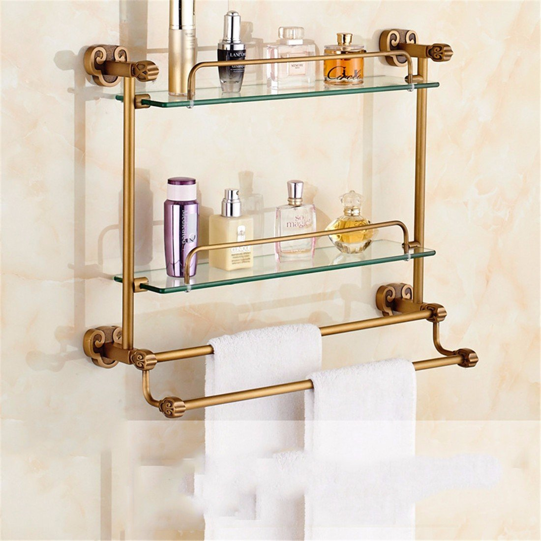 LAONA All copper antique European style horn base, bathroom fittings, rack, towel rack, toilet paper rack,Shelf 2 A 58cm