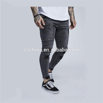 5db23cfa Fashion cheap skinny jeans wholesale washed grey tight mens jeans 2018