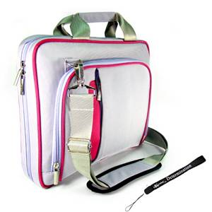 Purple and Pink Pin Carrying Case Optional Shoulder Strap For Sony DVP-FX930/R 9-Inch Portable DVD Player