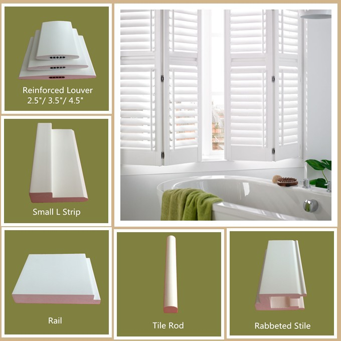 washing room plantation shutters in white color