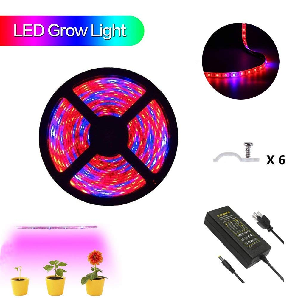 Plant Grow Light AVEYLUM 5050 SMD LED Plant Strip Lights Growing Lamp 16.4ft Waterproof Flexible Soft Rope Light with 12V Adapter for Greenhouse Hydroponics Plant Flower Seeds Growth(Red Blue 4:1)